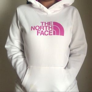 White North Face Hoodie with pink letters